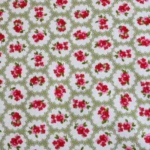 vintage rose green fabric - 100% cotton