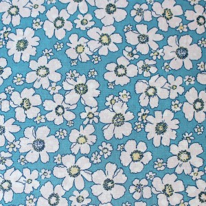 fabric with blue flower design