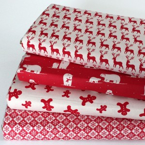 red scandi christmas fabric fat quarters