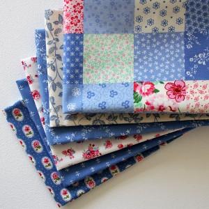 my blue heaven - set of blue fabric fat quarters