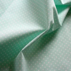 mint green polkadot fabric