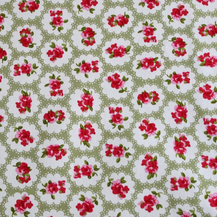 vintage rose green fabric - 100% cotton