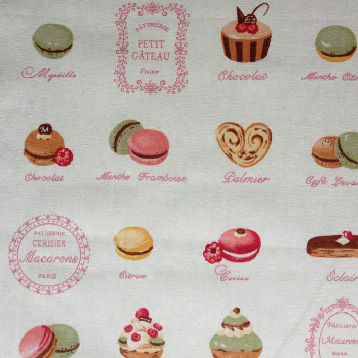 French fancies, macaroons and cake fabric swatch - 100% cotton