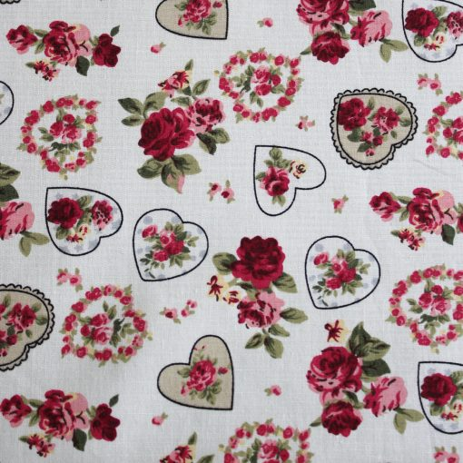 Sweetheart rose with hearts fabric swatch - 100% cotton