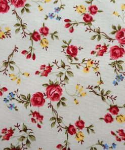 Climbing rose - red fabric. 100% cotton