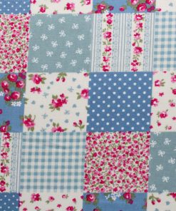 blue, pink and cream patchwork fabric