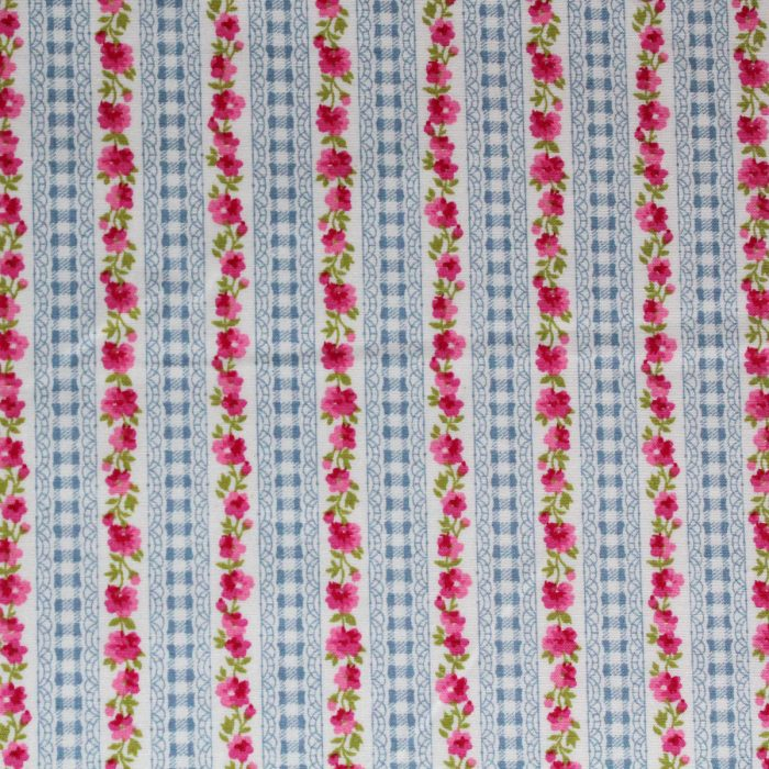 blue and pink rose and gingham stripe fabric