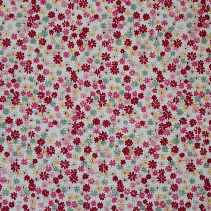 fabric with pink, red and green design