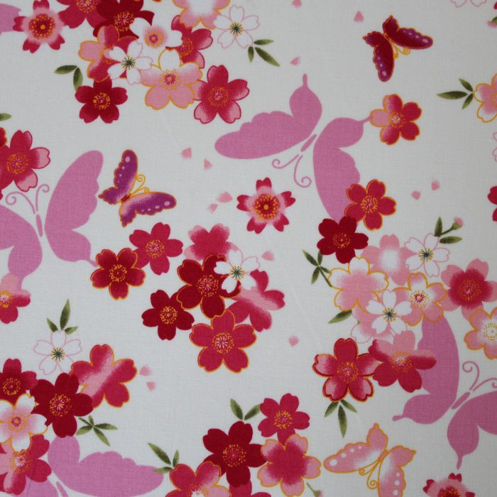 fabric with butterfly and floral design
