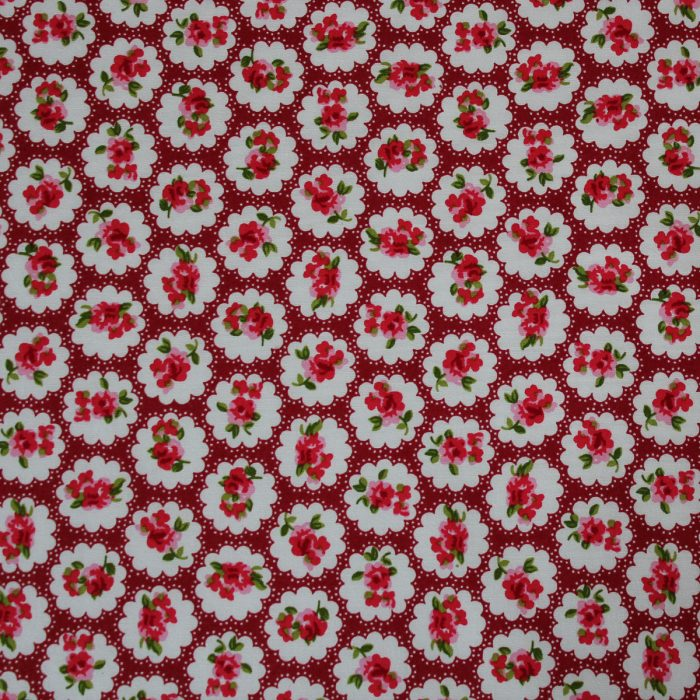 fabric with red vintage rose design