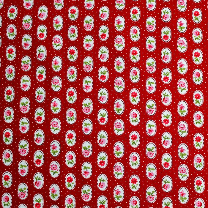 wine red fabric with pink roses