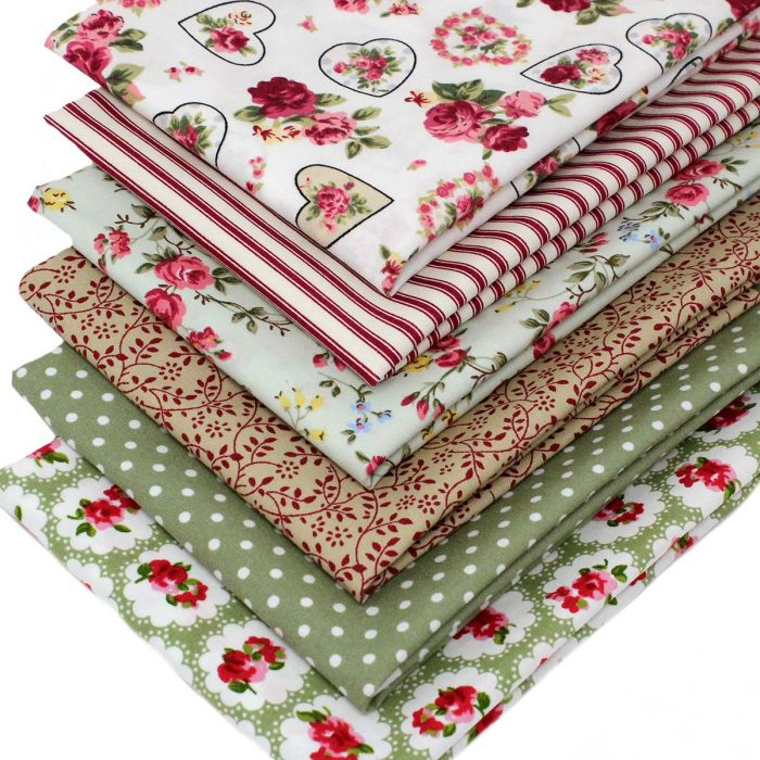 Red, green and pink fabrics with a vintage look.