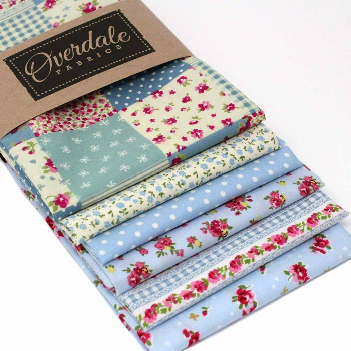Blue fat quarter pack with a vintage look.