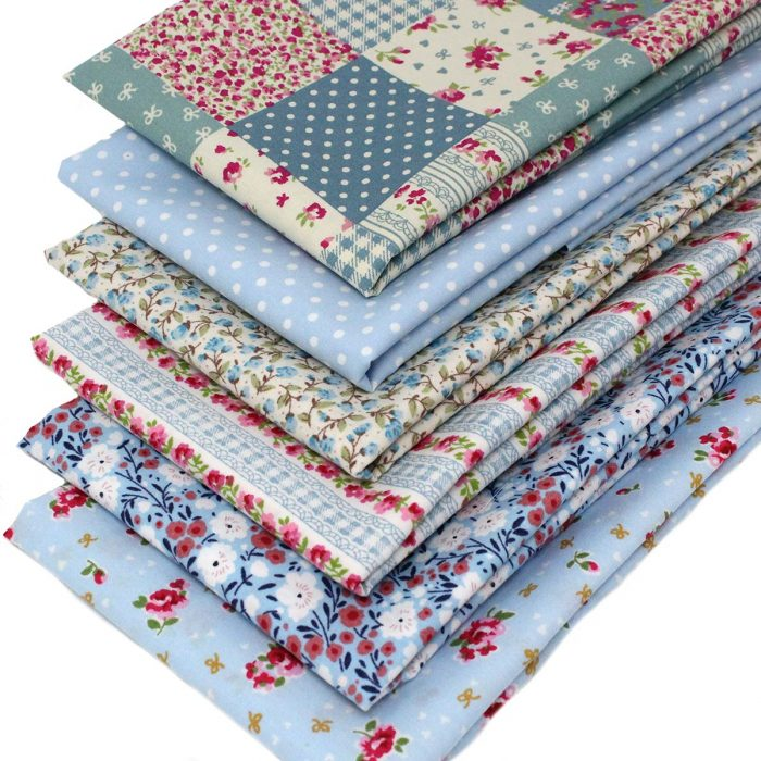 Vintage style blue fabrics in a fat quarter pack.