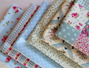 vintage blue fabric collection swatches