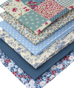 Blue fat quarter fabrics with a vintage look.