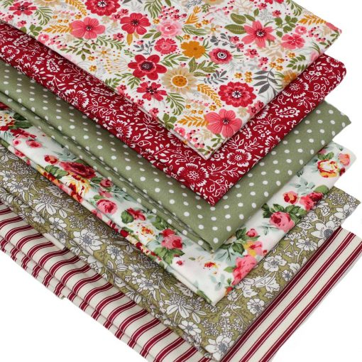 Floral fabrics in red and green.