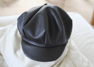 newsboy hat in brown leatherette