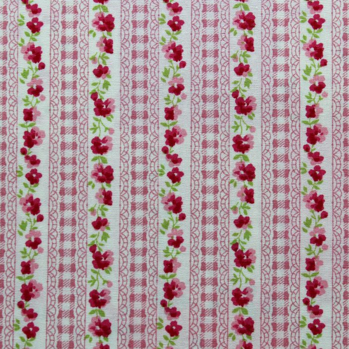 rose and gingham fabric