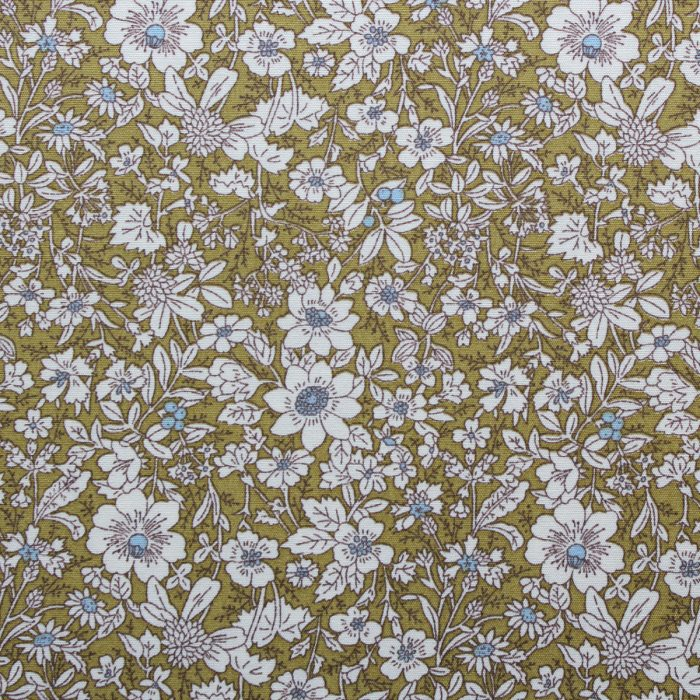 green flower fabric