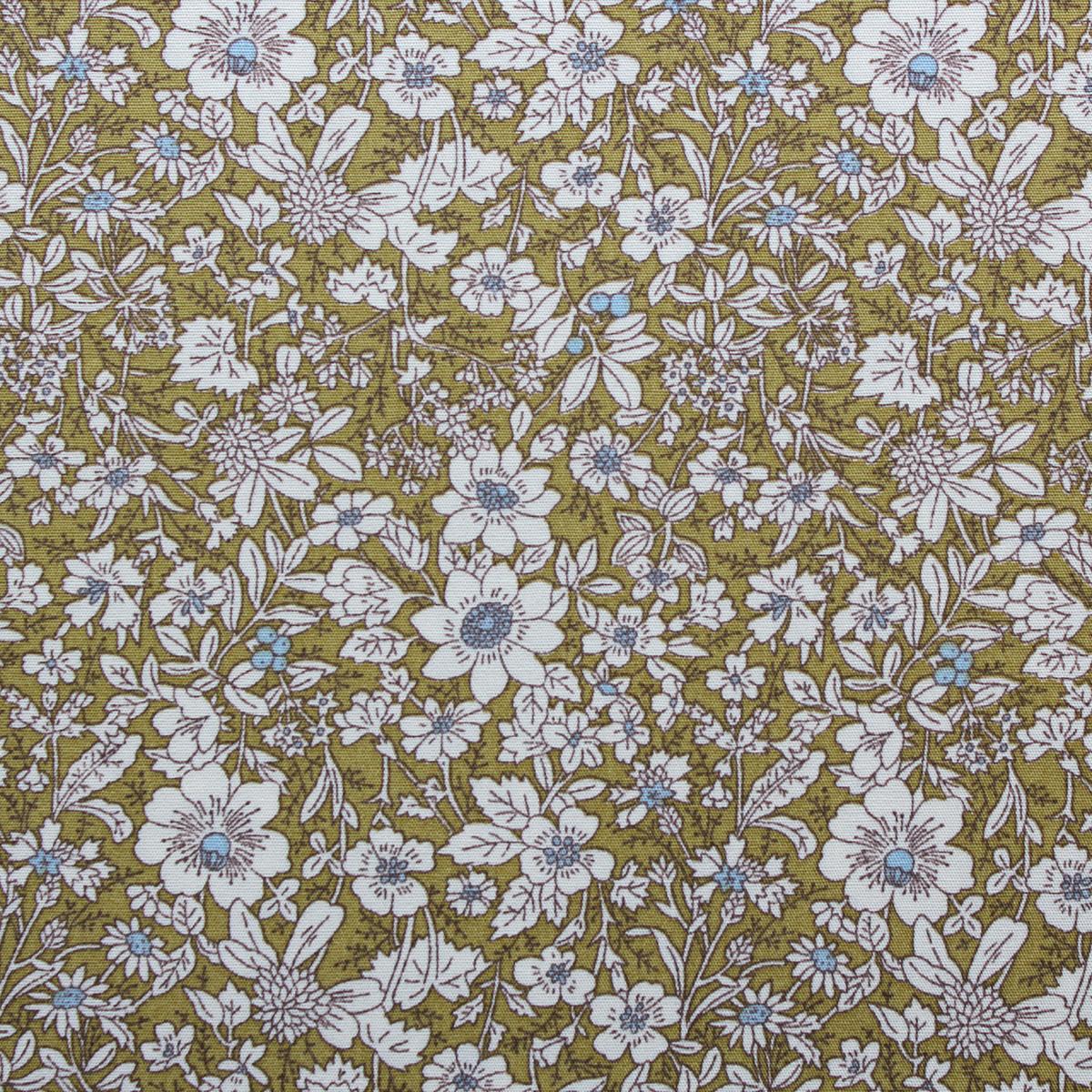 green flower fabric
