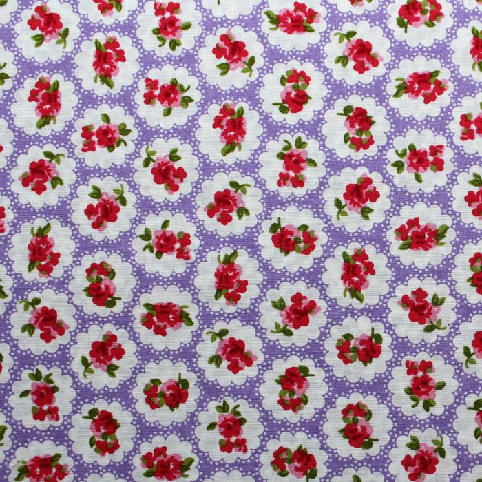 lilac rose design fabric
