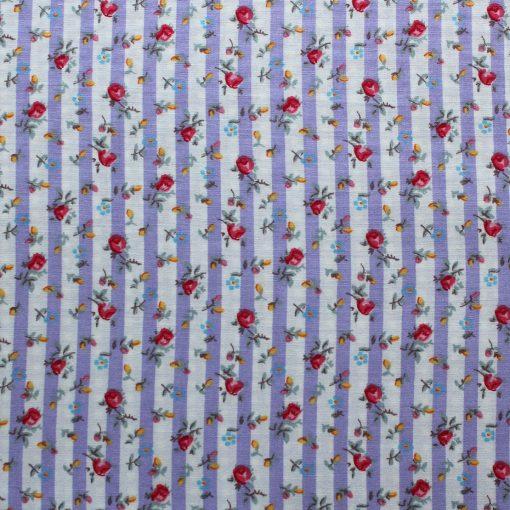 lilac floral stripe design fabric