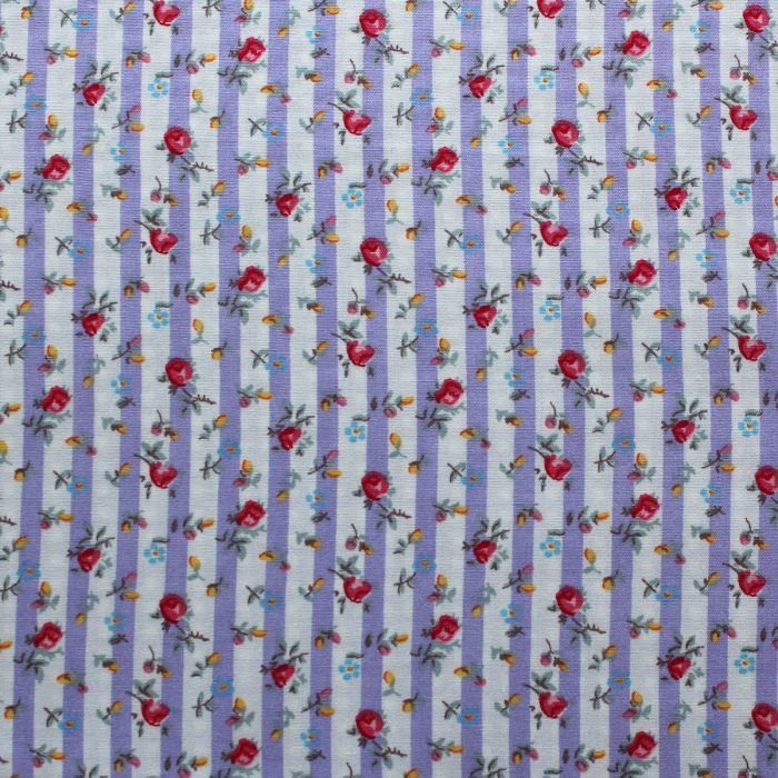 lilac floral stripe design fabric