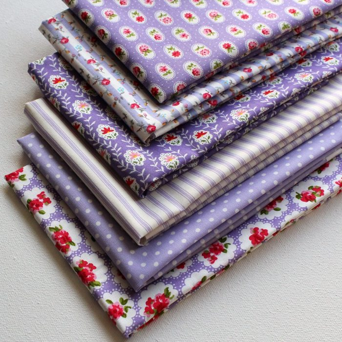 Lilac shabby fat quarters in lilac.