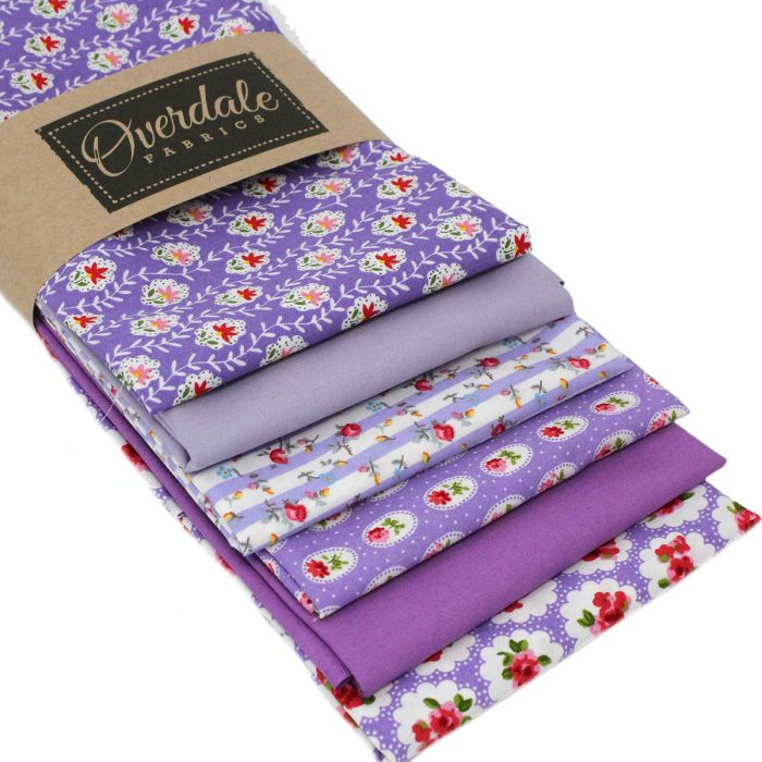 Fat quarter fabrics in lilac.
