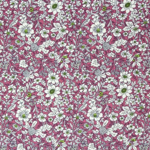 Rambling flower fabric print in pink.