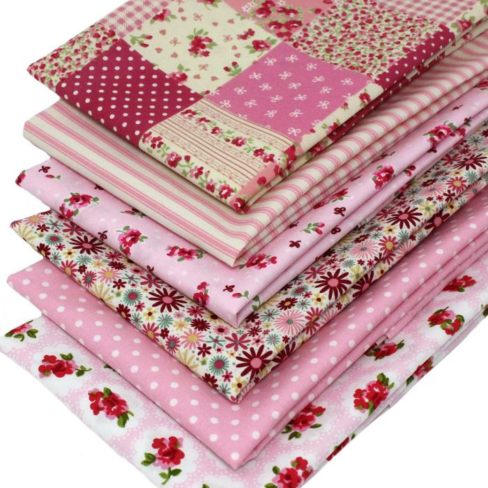Vintage style fat quarters in pink