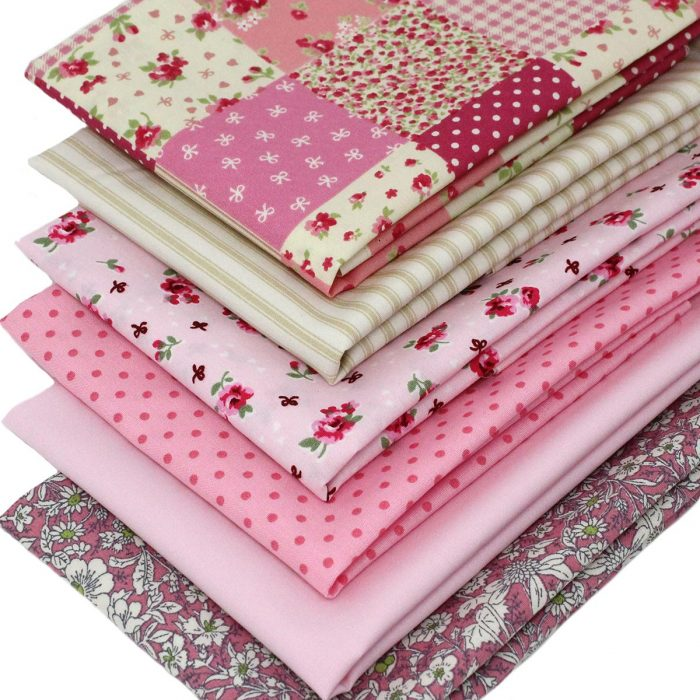 Vintage pink fat quarter fabrics.