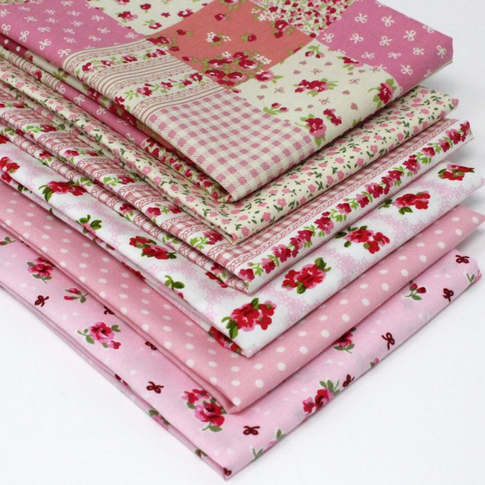 Vintage pink fat quarter pack by Overdale fabrics.