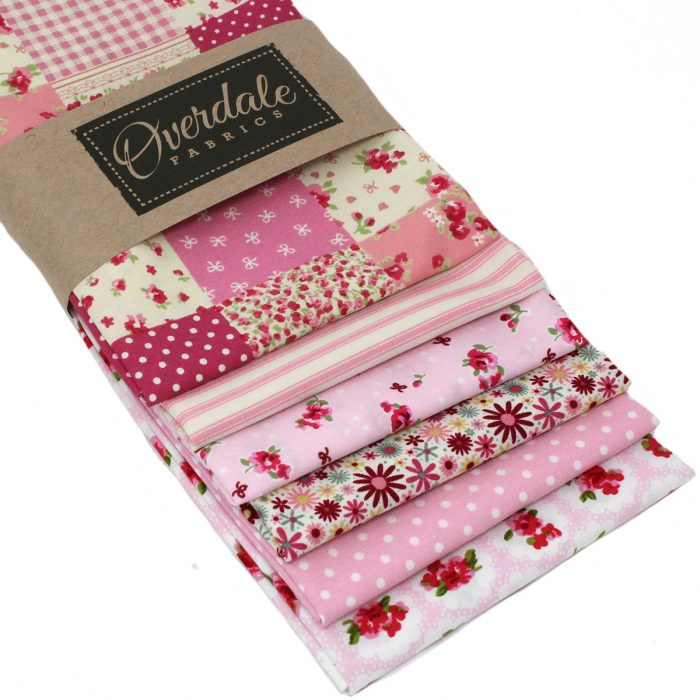 Vintage pink floral fat quarter pack.