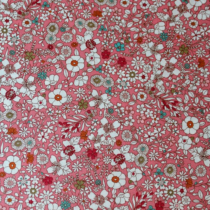 floral meadow design fabric in pink