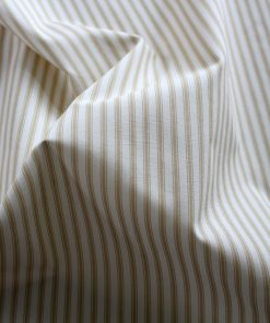 Beige ticking striped fabric.