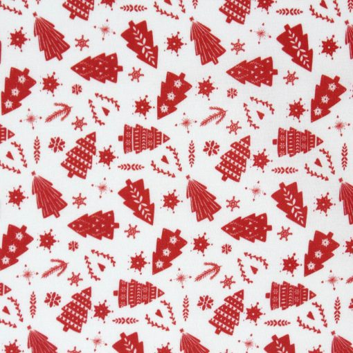 Christmas trees in red on a cream fabric.