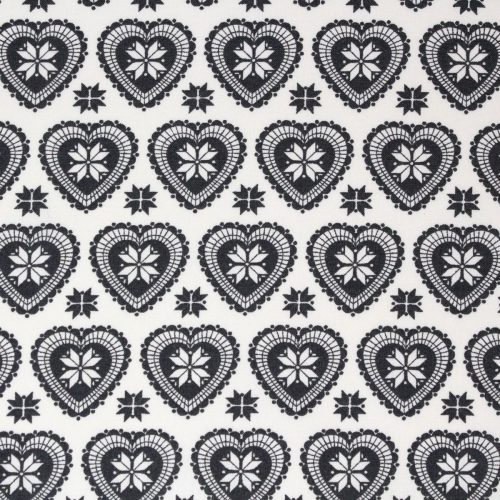 Scandi grey Christmas fabric with a heart design.