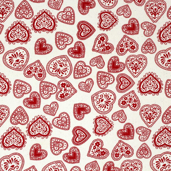 red heart design fabric