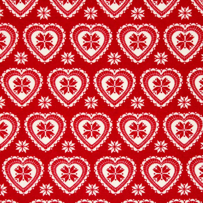 red heart Christmas fabric