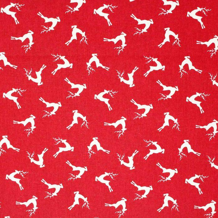 Red reindeer Christmas fabric.