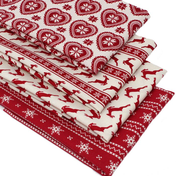 Scandi Christmas red fabrics for quilting.