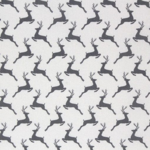 Leaping deer fabric in grey.