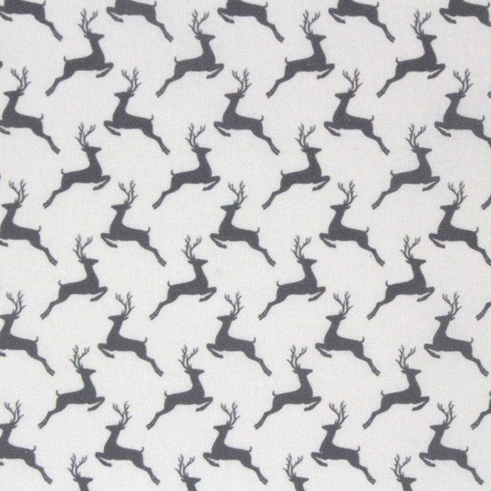 Leaping deer fabric in grey.