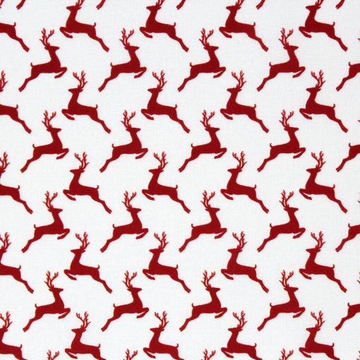 Leaping deer red Christmas fabric.