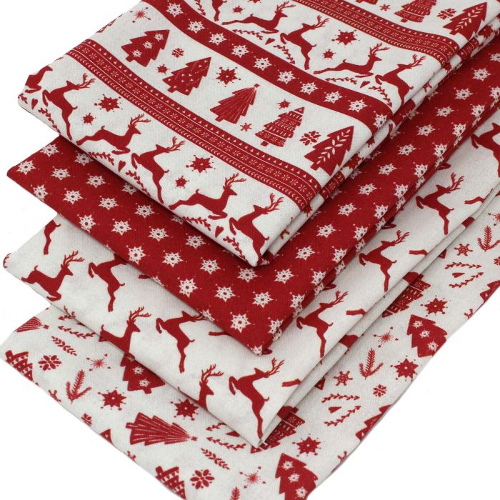 Scandi Christmas fabrics in red.