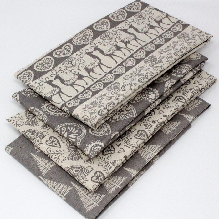 scandi christmas grey fabric