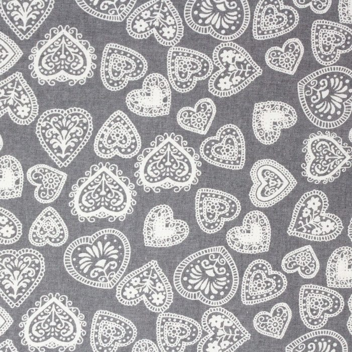 heart fabric in grey
