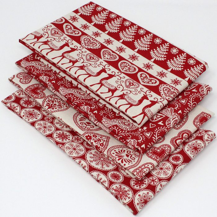 scandi christmas red coloured fabric